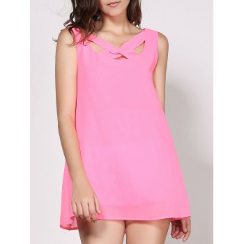 Sexy V-Neck Sleeveless Solid Color Cut Out Women's Dress