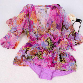 Chic Women's Halterneck Floral Print Three-Piece Swimsuit - PURPLE M
