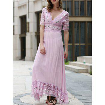 Fashionable Short Sleeve Plunging Neck Lace Spliced Embroidered Women's Dress