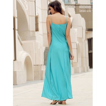 Backless Lace Trim Spaghetti Strap Floor Length Dress - LIGHT BLUE S