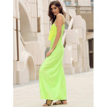 Backless Lace Trim Spaghetti Strap Floor Length Dress - NEON GREEN M