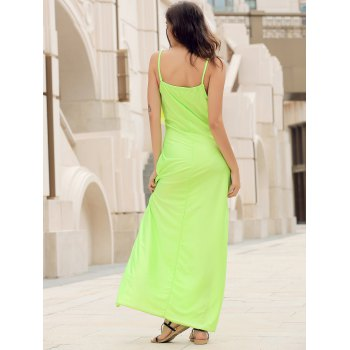 Backless Lace Trim Spaghetti Strap Floor Length Dress - NEON GREEN L