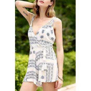 Stylish Spaghetti Strap Ethnic Pattern Women's Playsuit