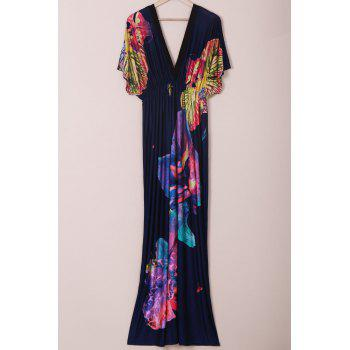 Plus Size Plunge V-Neck Floral Maxi Beach Dress
