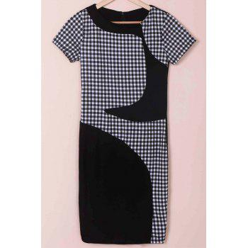 Stylish Women's Scoop Neck Short Sleeve Plaid Bodycon Dress