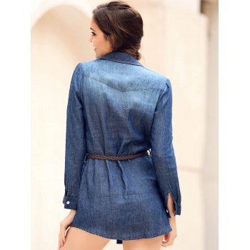 Mini Button Up Denim Shirt Dress with Pockets - BLUE BLUE