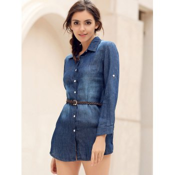 Mini Button Up Denim Shirt Dress with Pockets - BLUE M