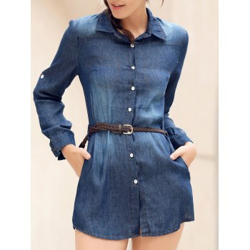 Mini Button Up Denim Shirt Dress with Pockets