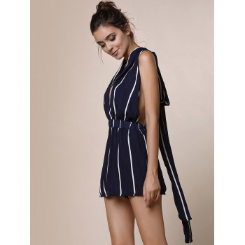 Sexy Plunging Neck Sleeveless Striped Lace-Up Backless Women's Romper - BLUE XL