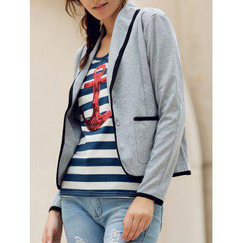 Shawl Collar Color Splicing Long Sleeve Blazer For Women