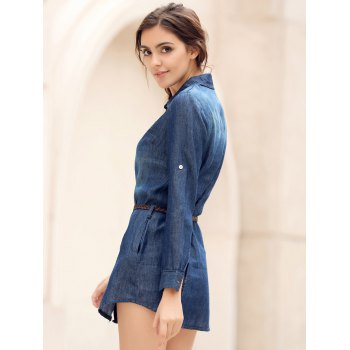 Mini Button Up Denim Shirt Dress with Pockets - BLUE XL