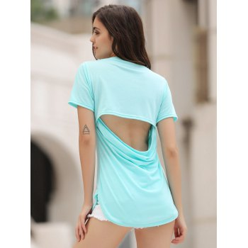 Hollow Out Tunic Tee - AZURE L