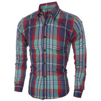 Checked Printing Turn Down Collar Shirt For Men - RED/GREEN 2XL