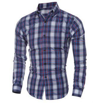 Checked Printing Turn Down Collar Shirt For Men - CYAN / WHITE M