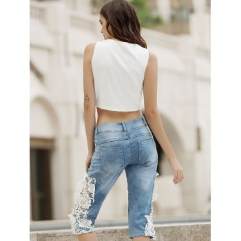 Fashionable Lace Spliced Cut Out Pocket Design Women's Cropped Pants - LIGHT BLUE S