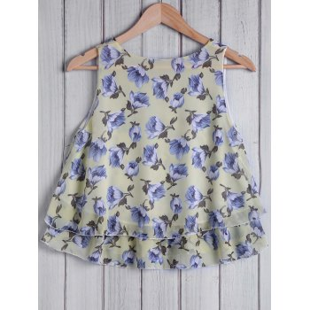 Stylish Round Collar Loose-Fitting Floral Pattern Women's Tank Top - LIGHT YELLOW ONE SIZE(FIT SIZE XS TO M)
