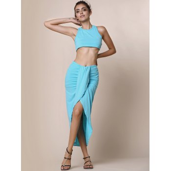 Sexy Candy Color Round Neck Crop Top and Irregular Skirt Two-Piece Set For Women - LAKE BLUE L