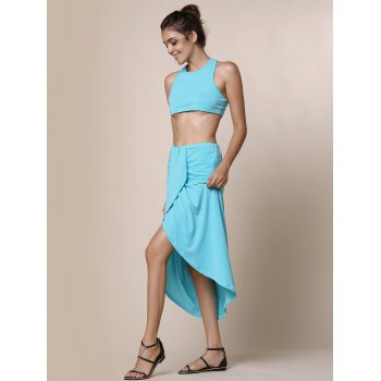 Sexy Candy Color Round Neck Crop Top and Irregular Skirt Two-Piece Set For Women - LAKE BLUE XL