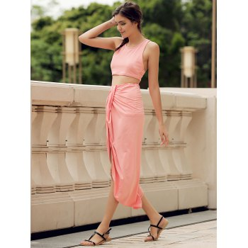 Sexy Candy Color Round Neck Crop Top and Irregular Skirt Two-Piece Set For Women - WATERMELON RED M