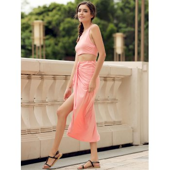 Sexy Candy Color Round Neck Crop Top and Irregular Skirt Two-Piece Set For Women - WATERMELON RED L