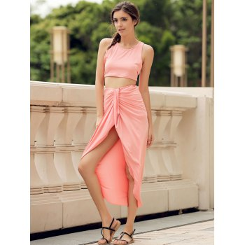 Sexy Candy Color Round Neck Crop Top and Irregular Skirt Two-Piece Set For Women - WATERMELON RED XL