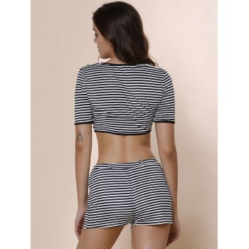 Stylish Short Sleeve Scoop Neck Crop Top + High-Waisted Shorts Women's Striped Twinset - STRIPE M