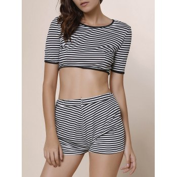 Stylish Short Sleeve Scoop Neck Crop Top + High-Waisted Shorts Women's Striped Twinset - STRIPE L