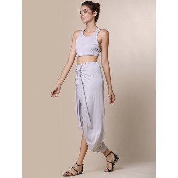 Sexy Candy Color Round Neck Crop Top and Irregular Skirt Two-Piece Set For Women - GRAY M