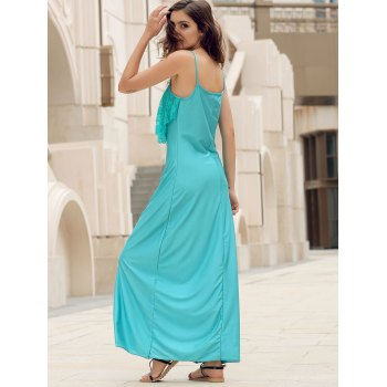 Backless Lace Trim Spaghetti Strap Floor Length Dress - LIGHT BLUE L