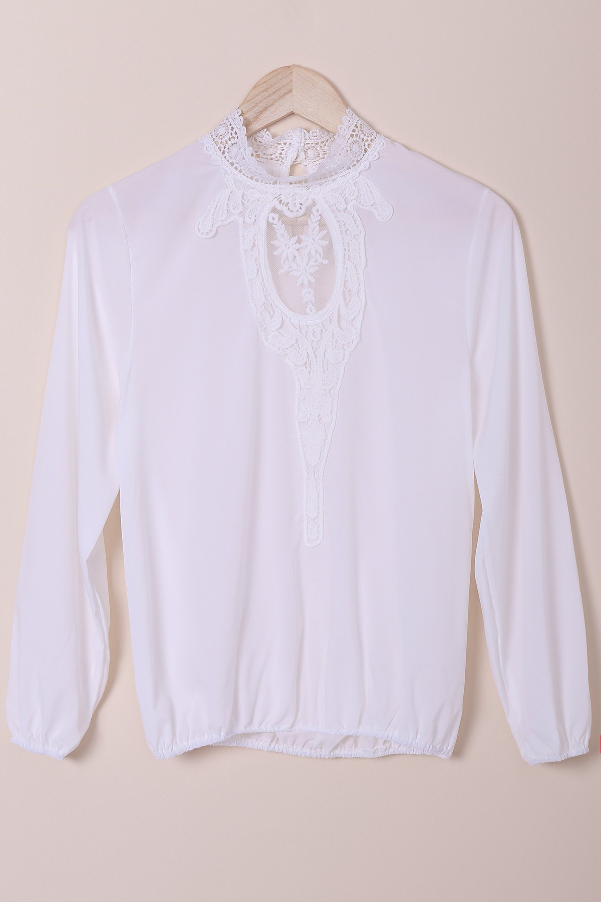 Stylish Stand-Up Collar Long Sleeve Hollow Out Crochet Womens BlouseWomen<br><br><br>Size: S<br>Color: WHITE