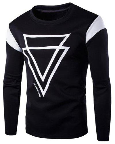 Round Neck Pullover Inverted Triangle Sweatshirt For Men - BLACK M