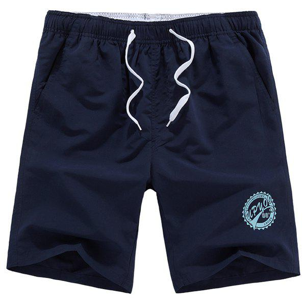 Solid Color Lace-Up Letters Pattern Straight Leg Men's Shorts - DEEP BLUE XL