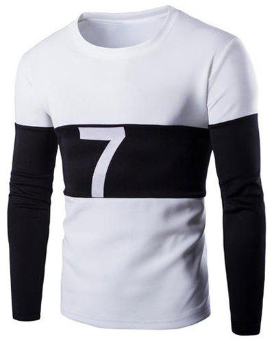 Round Neck Pullover Number Printed Sweatshirt For Men - WHITE M