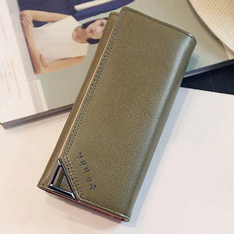 Concise Solid Color and Letter Design Women's Wallet - SHALLOW FLAXEN