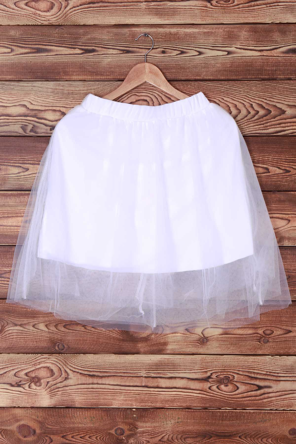 Elegant Elastic Waist White Layered Women's Voile Skirt - WHITE S