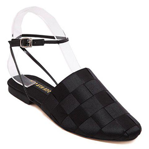 Fashionable Solid Colour and Satin Design Women's Flat Shoes - BLACK 39