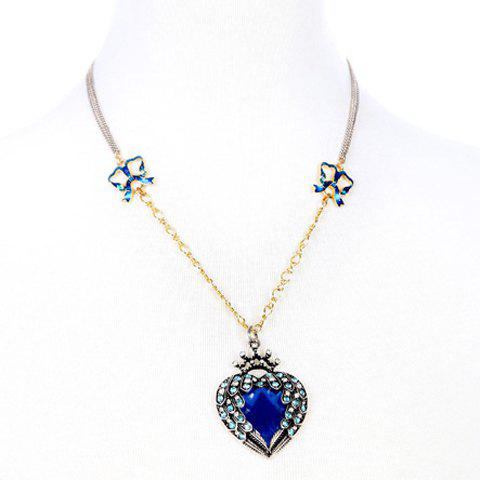 Gorgeous Rhinestones Bowknots Decorated Heart Shape Faux Sapphire Necklace For Women - BLUE