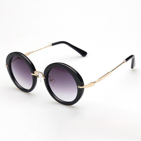 Chic Solid Color Round Frame Retro Style Women's Sunglasses