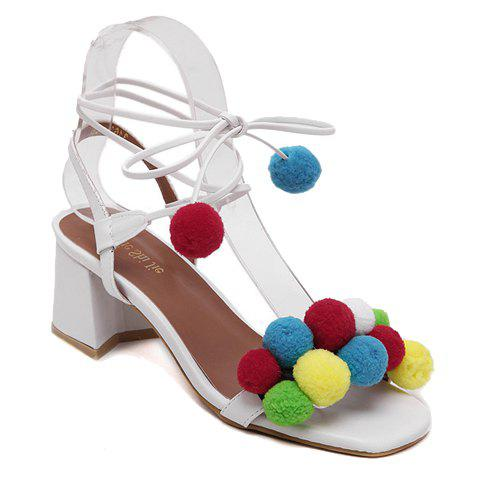 Fashionable Chunky Heel and Pompoms Design Women's Sandals - WHITE 37