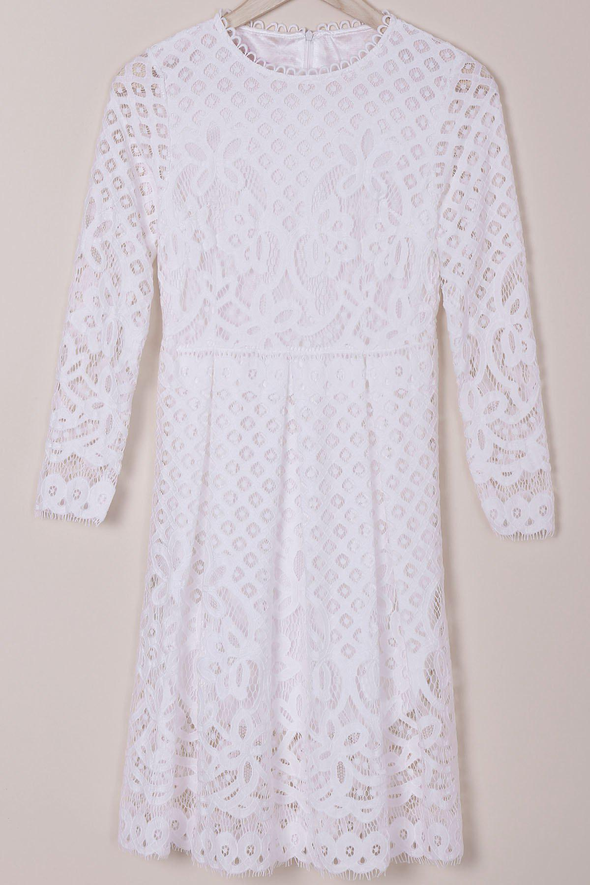 Ladylike Long Sleeve Jewel Neck Lace Hollow Out Solid Color Women's Dress - WHITE M