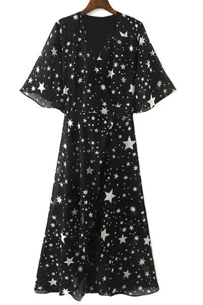Graceful V Neck Half Sleeve See-Through All-Over Stars Print High Slit Women's Dress
