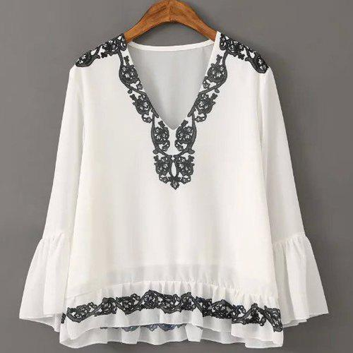 Graceful V Neck Flare Sleeve Embroidered Chiffon Women's Blouse - WHITE M
