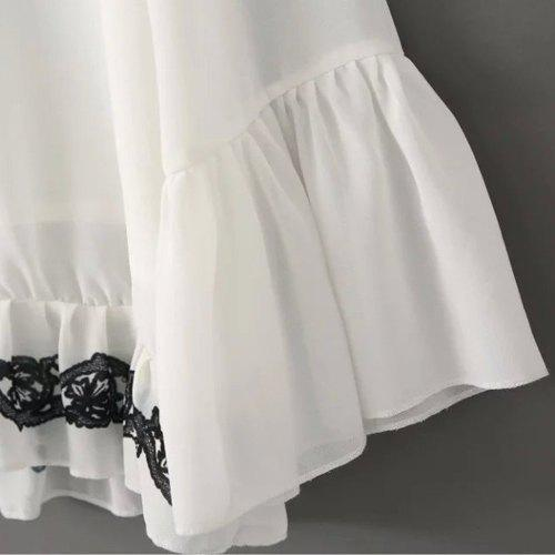 Graceful V Neck Flare Sleeve Embroidered Chiffon Women's Blouse - WHITE L