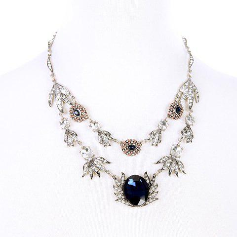 Faux Crystal Rhinestone Flower Shape Pendant Necklace - COLORMIX