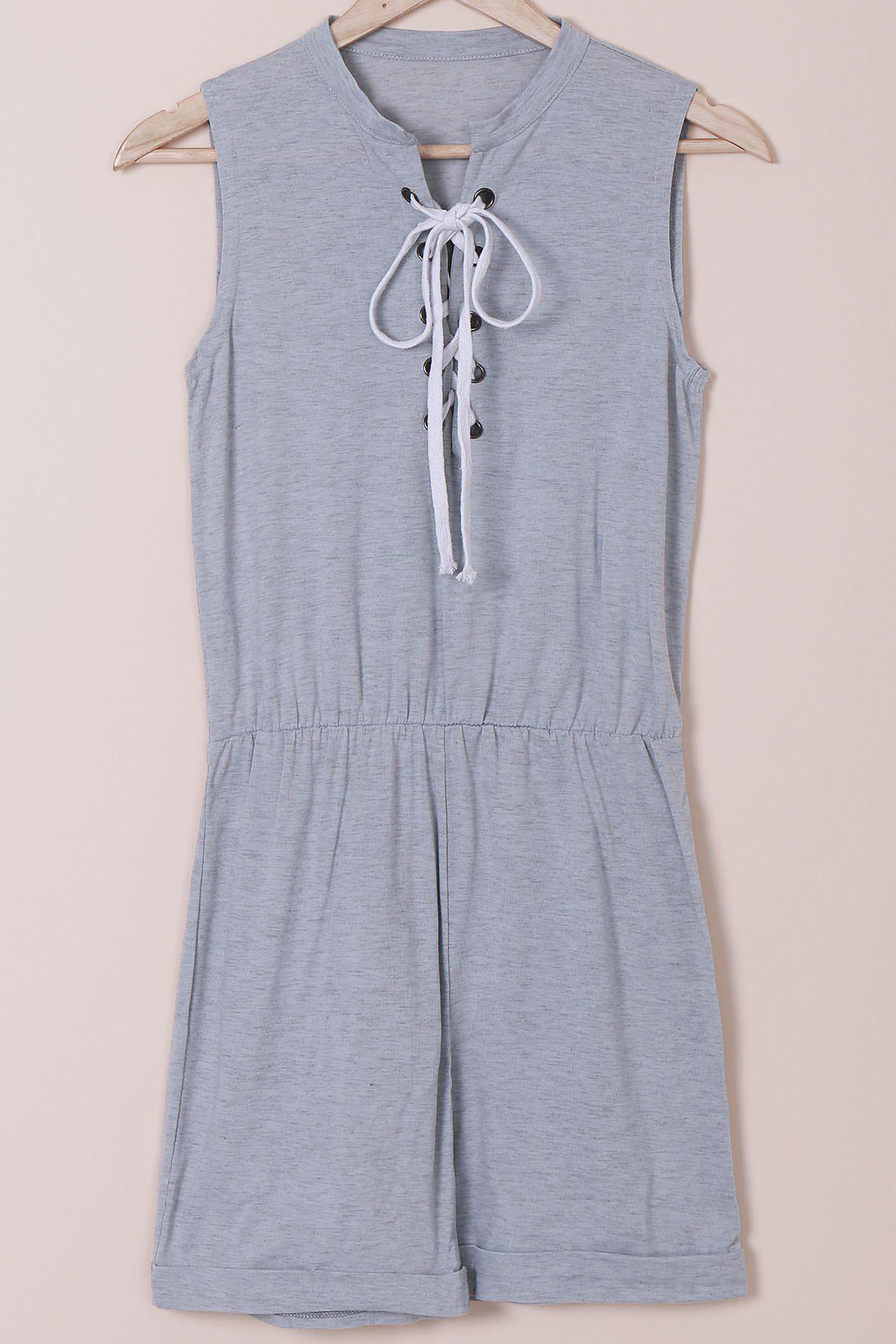 Casual Style Sleeveless Jewel Neck Lace-Up Women's Gray Romper - GRAY M