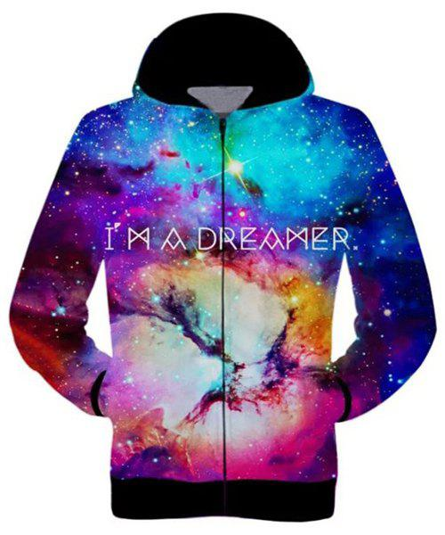 Casual 3D Starry Sky Printed Zip Hoodie For Men - COLORFUL S