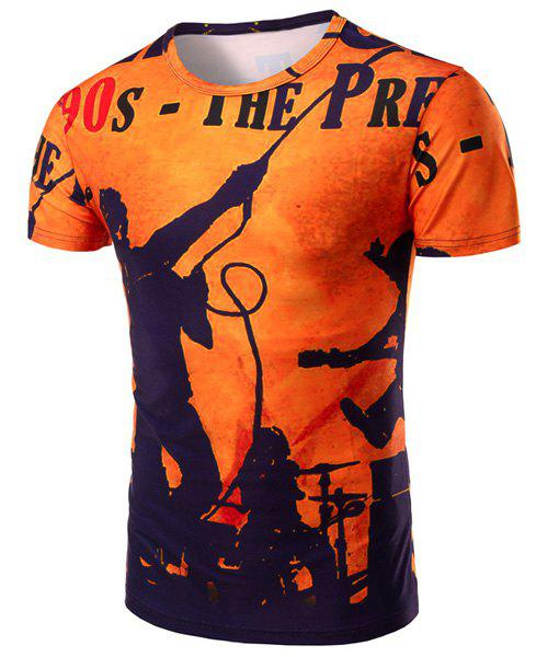Letters and Figure 3D Print Pattern Round Neck Short Sleeve Men's T-Shirt - ORANGE M