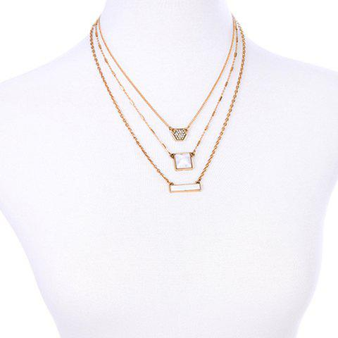 Multilayer Faux Gem Rhinestone Geometric Pendant Necklace - GOLDEN