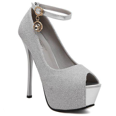 Party Ankle Strap and Sequined Design Women's Peep Toe Shoes - 35 SILVER
