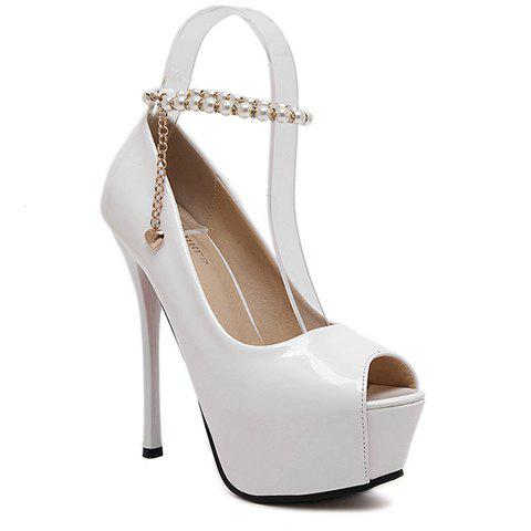 Party Beading and Patent Leather Design Women's Peep Toe Shoes - 37 WHITE